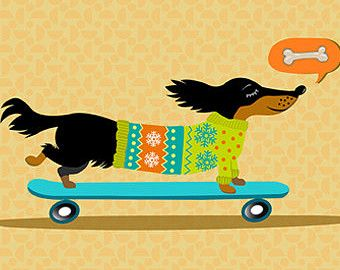 Dachshund Dog Art print, Dachsund Art, Dachshund on Skateboard 8.5 x 11 dachshund illustration