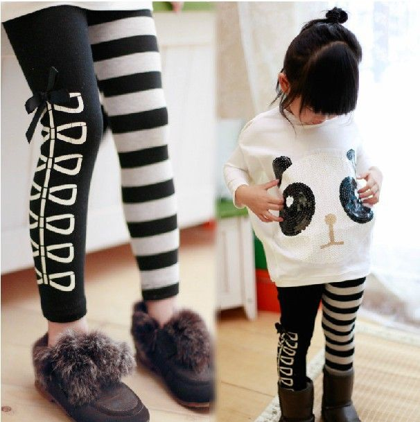 Free Shipping! 2014 New Arrive. 1set/lot Girls Clothing Sets Outfits 2pcs/set(Panda Bat Wing Fighter Jumpers Coat+Striped Pants)