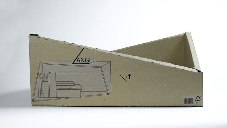 Angle, bookshelf, packaging. Made at Lund University of Industrial Design, Bachelor year 1, Isis Flote