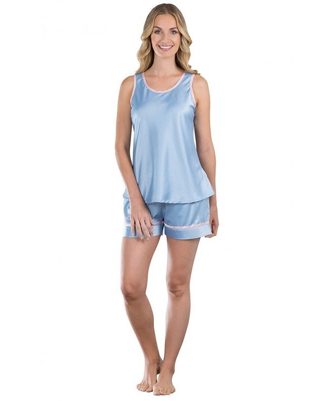 41aa60a7cdd6 Women s Dreamy Satin Short Set with Tank Top- Blue - Blue ...