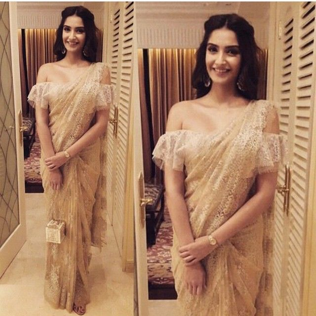 Most beautiful person in my my life #insideout @sonamkapoor in a one of its kind #Shehlaa chantilly lace sari with chantilly lace ruffled blouse #onlylace made with love and styled by @rheakapoor my rock  @kapoor.sunita baubles to die for and @judithleberny