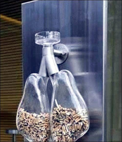 photo cendrier forme poumons cancer gorge megot