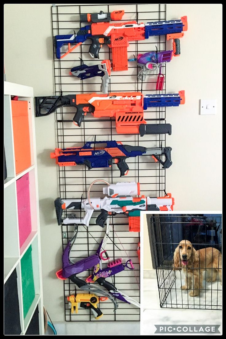 How to store too many nerf guns? An old and too small dog pen! Nice and neat. We'll probably have to add other pieces to it. Just use velcro to hold it in place.