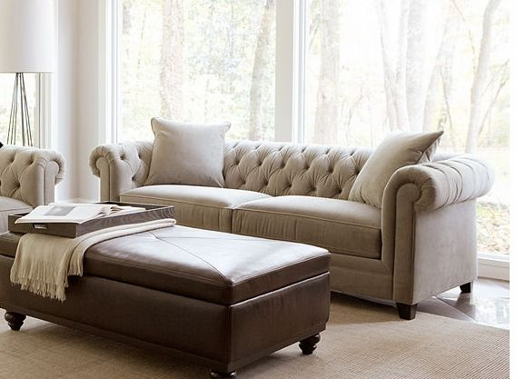 "Parlor Couch Idea (too big): Martha Stewart Saybridge Living Room 92″W x 40″D x 31″H ""Rayna"" Couch is the same look but smaller."