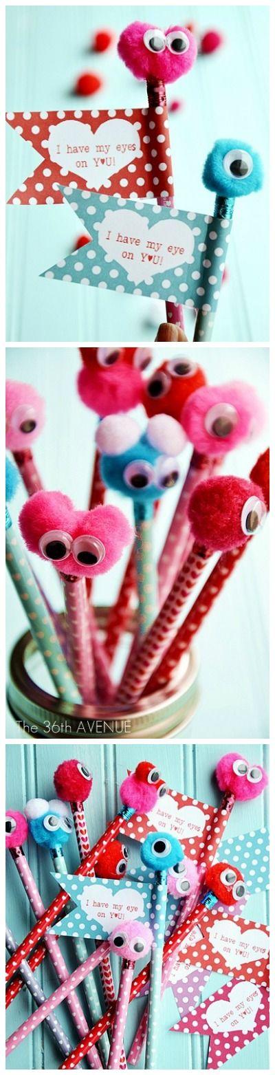 Valentine : Super cute idea for classmates. Pencil Tutorial and FREE PRINTABLE at the36thavenue.com