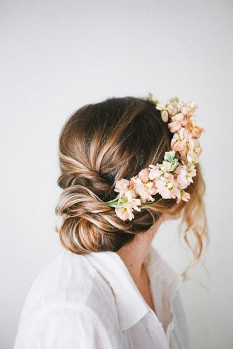 you're not allowed to cut your hair until after this wedding so we can do something like this with your hair! minus the plants. plants don't belong in hair!