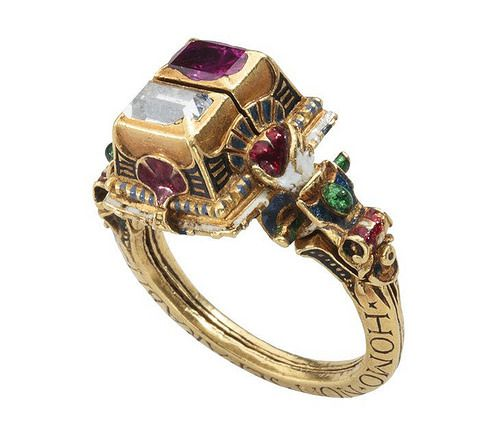 Renaissance Rothschild Diamond Ruby and Enamel Gimmel Ring with Memento Mori, dated 1631. Les Enluminures