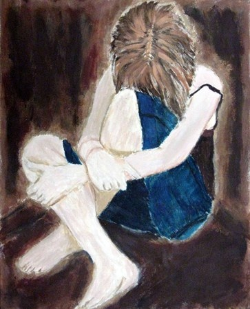 Artsonia Art Museum :: Artwork by Stephanie grade 11  painting  Self portrait showing emotion, a great project for teenagers to explore self identity