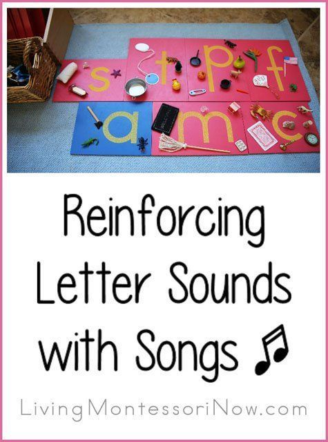 Ideas for using phonics songs and Montessori principles to reinforce letter sounds. Post includes the Montessori Monday permanent collection.