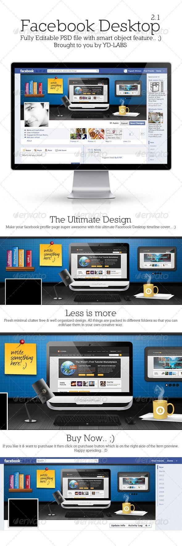 FB Desktop 2.1 — Photoshop PSD #psd #web elements • Available here → https://graphicriver.net/item/fb-desktop-21/3375214?ref=pxcr