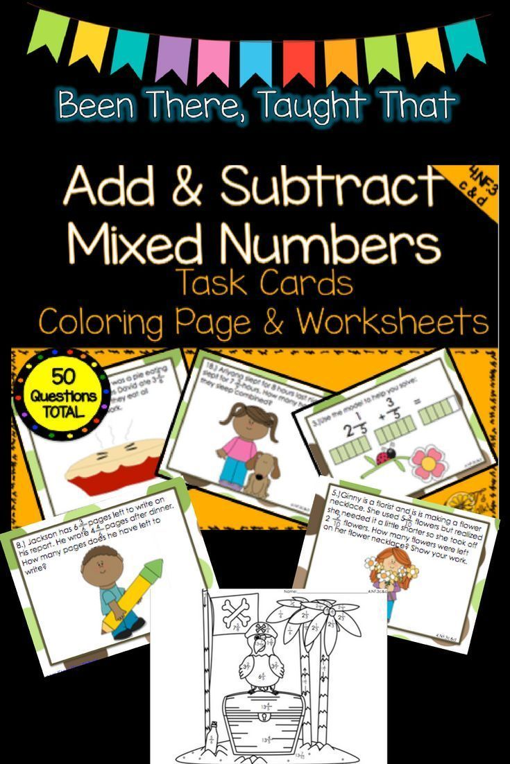 Add And Subtract Mixed Numbers Task Cards Worksheets And Coloring Pages Task Cards Mixed Numbers Subtraction