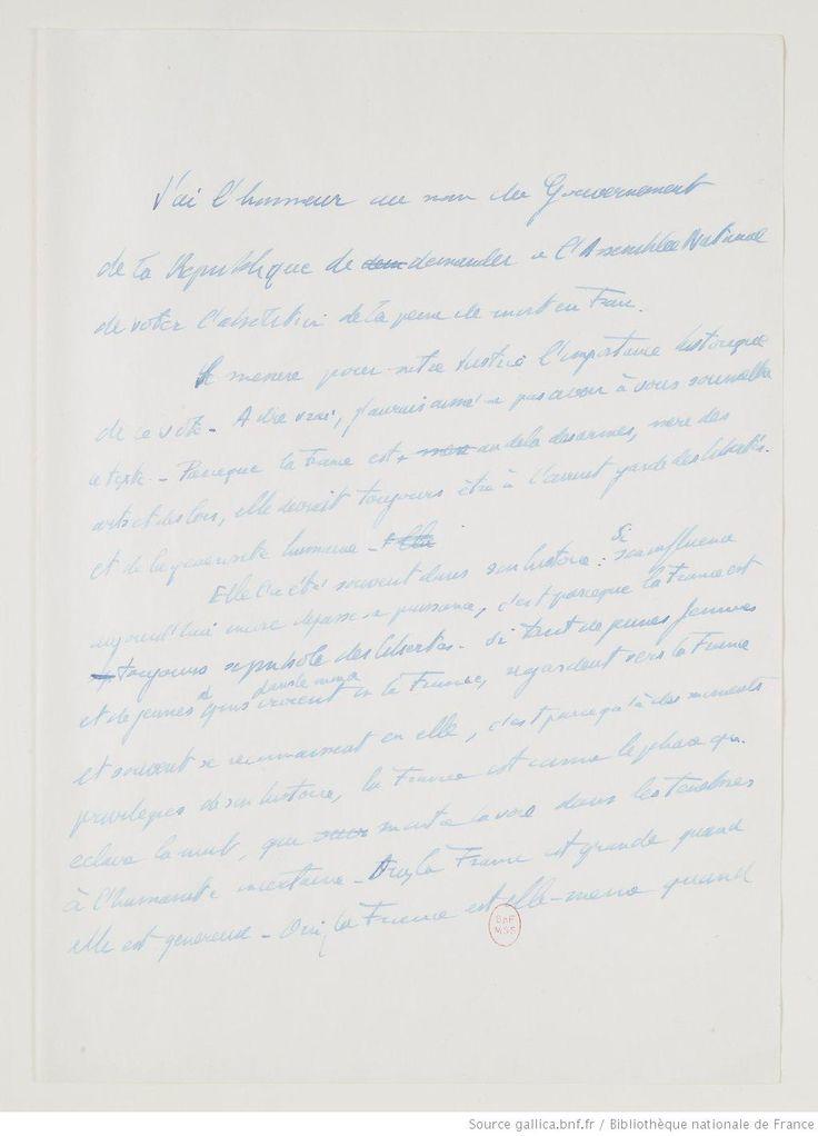 Robert Badinter. Manuscrit du discours sur l'abolition de la peine de mort.