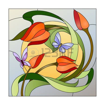 stained glass flowers: modelo del vitral con flores rojas y mariposas
