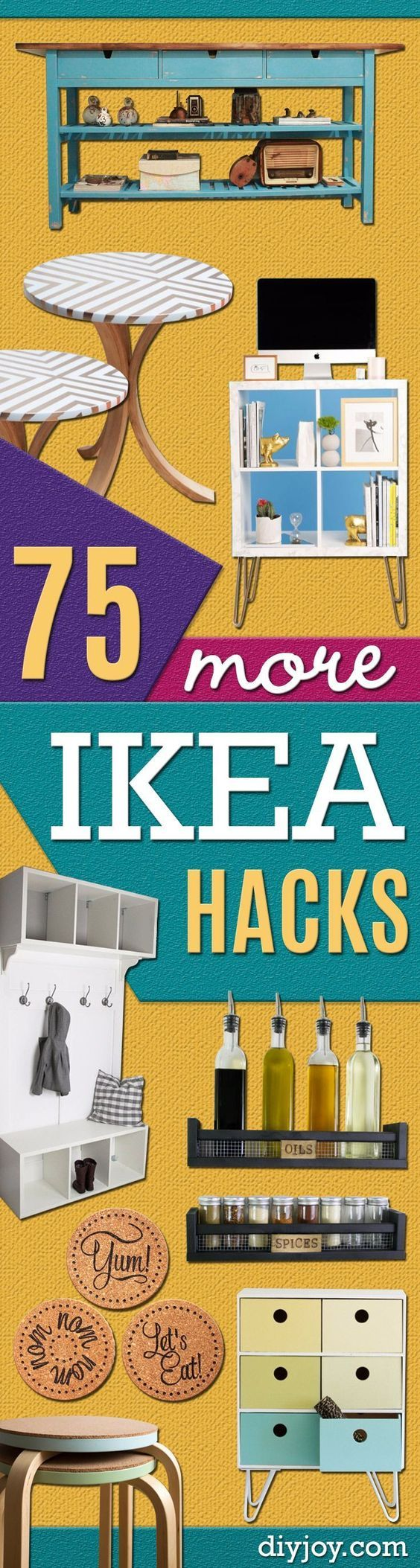 Best IKEA Hacks and DIY Hack Ideas for Furniture Projects and Home Decor from IKEA -Creative IKEA Hack Tutorials for DIY Platform Bed, Desk, Vanity, Dresser, Coffee Table, Storage and Kitchen, Bedroom and Bathroom Decor http://diyjoy.com/best-ikea-hacks