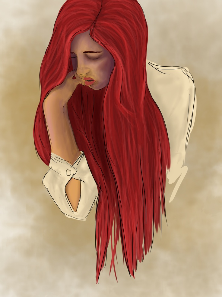 girl, hair, red, drawing, face, digital, art, By Tiarne White,