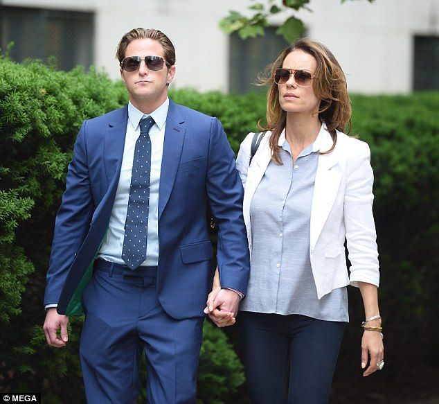 Outside: Cameron Douglas and his girlfriend Viviane Thibes leave court in New York City on Wednesday