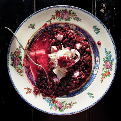 This spooky-looking spelt risotto with beets and horseradish was inspired by a chef's trip to Transylvania.
