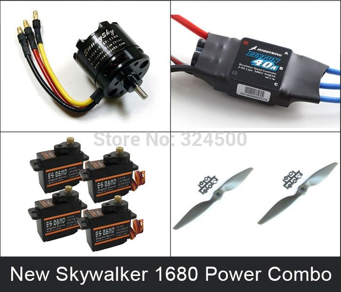 96.71$  Watch now - http://ai26n.worlditems.win/all/product.php?id=924109284 - New Power Combo For SKYWALEKR 1680 EPO /Skywalker 1880 Condor (X2814 motor 40A esc ES08MD servos and 9060 prop kit) Propeller RC