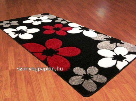 Fekete piros fehér margarétás szőnyeg 80x150 cm összekötő