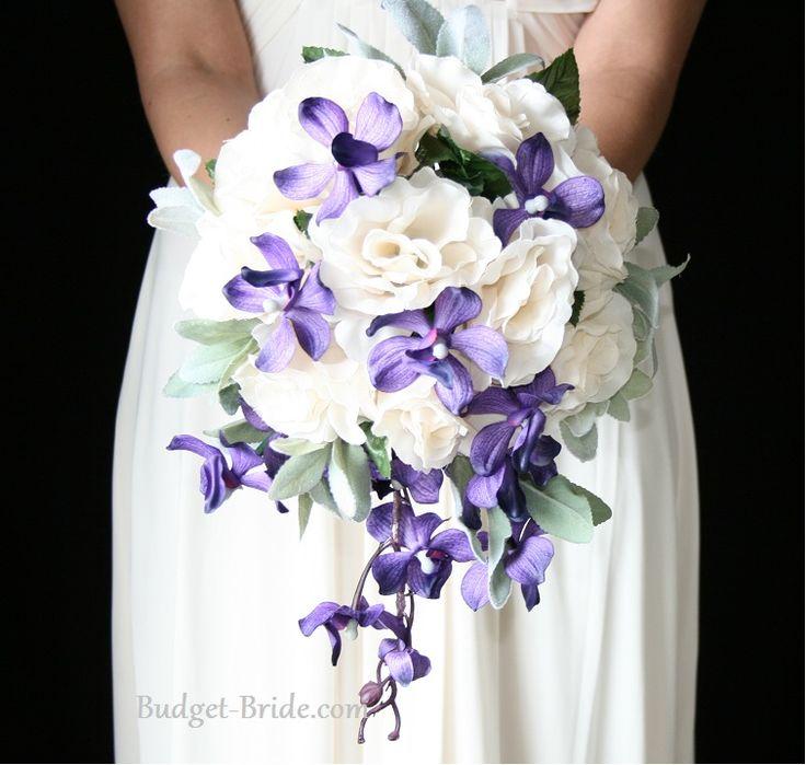Passion Orchid Cascading Bouquet with deep purple bridesmaid dresses