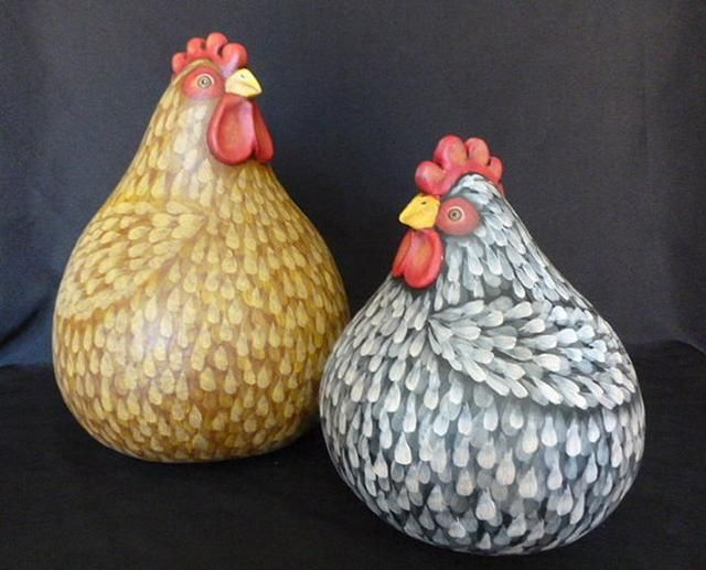 Hand crafted gourd hand painted and mixed media folk art