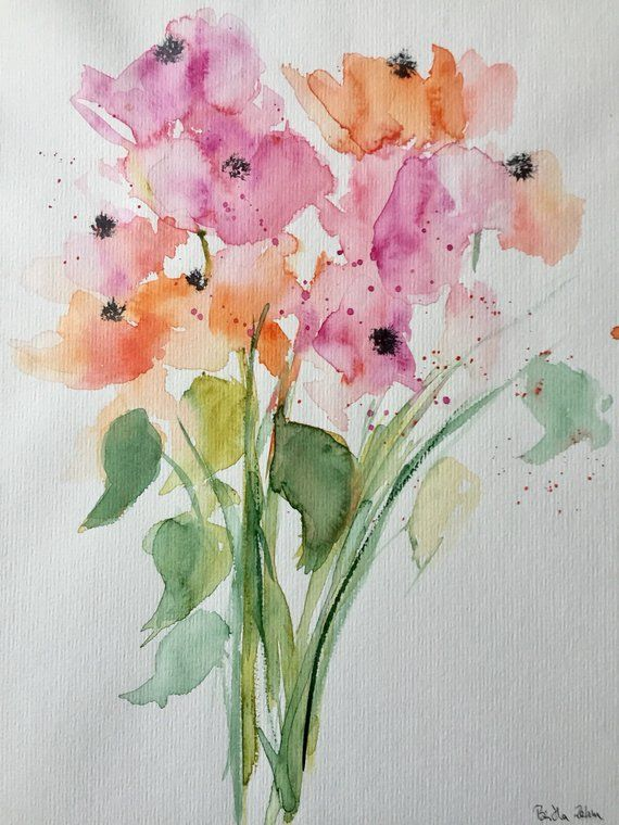 Original watercolor watercolor painting image art flowers abstract painting handmade