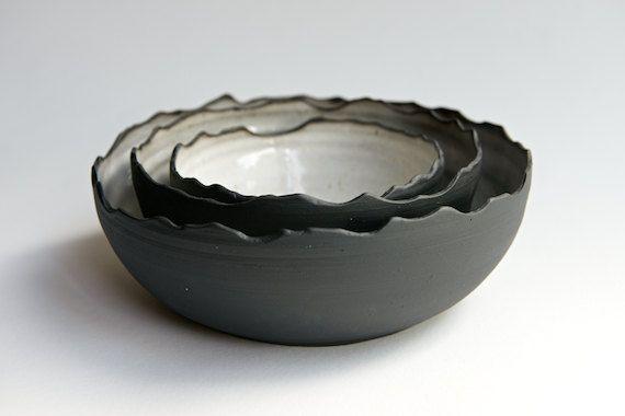 Nesting Bowl Set of 3 Black and White Handmade Pottery by RossLab - handmade ceramic minimal dinnerware rustic