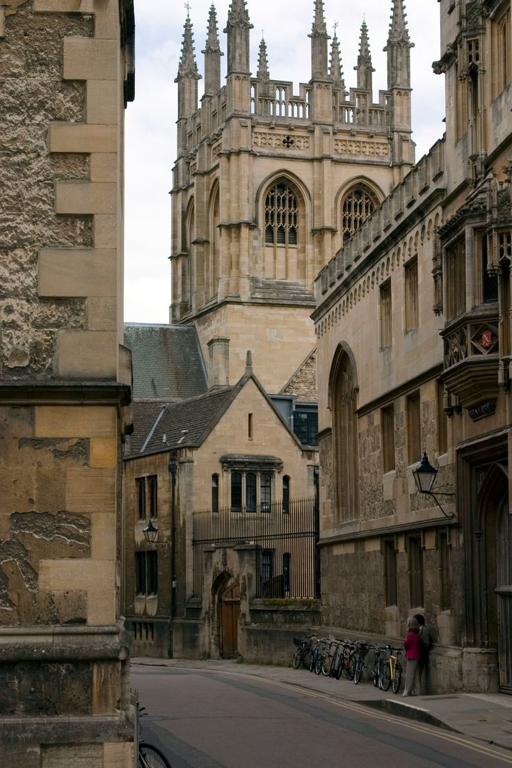:Merton College chapel tower, Oxford, England. Merton College was founded in 1264