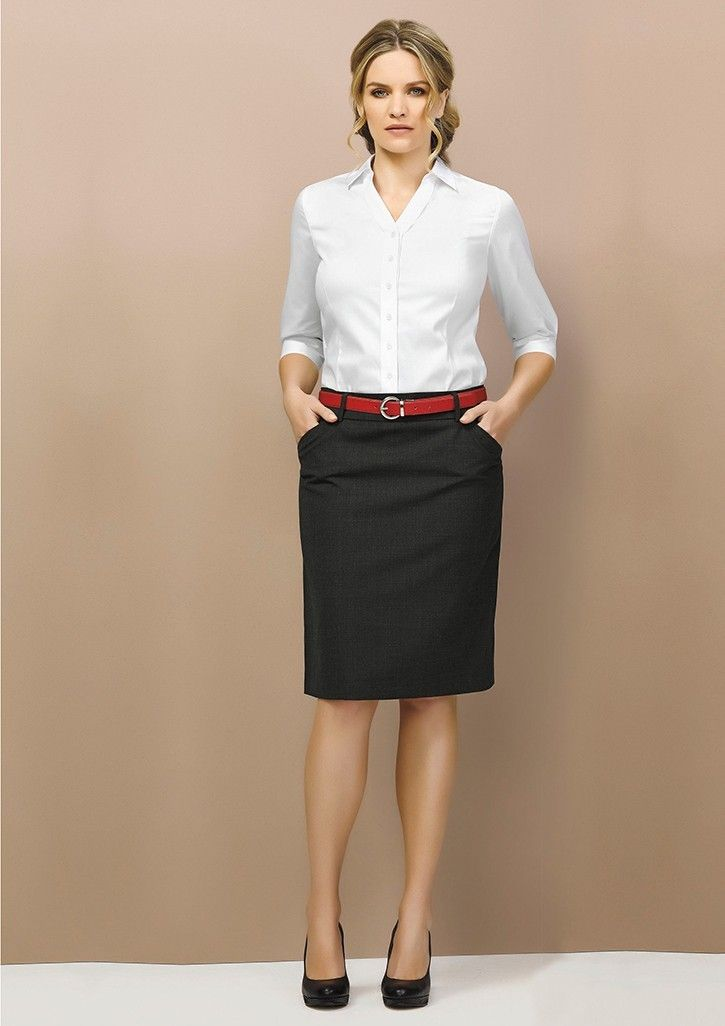 Comfortable wool stretch office wear suiting for women. This dress is featuring deep side pockets with belt loops. Simply uniforms is offering a full range of office wear dresses for men and women.