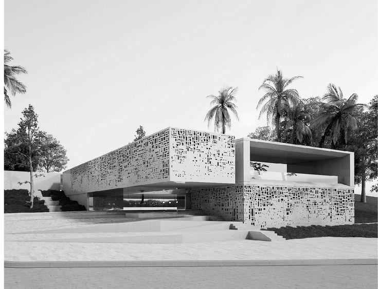 """#1ER_PRIX  Youssef Lahkim (mandataire) + Khalid Ait El Madani + Ghazal Banan + Chamss Doha Oulkadi - Le belvédère urbain """"Nous avons considéré l'ensemble du bâtiment comme une place publique au croisement des chemins et au coeur du site Malabata Hills."""""""