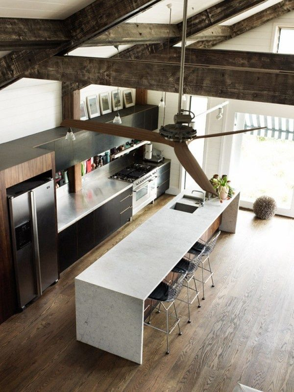 black kitchen with concrete countertops - Google Search
