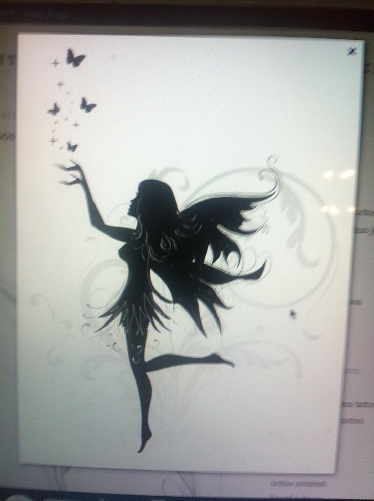 Fairy tattoo tatoos pinterest fairy silhouette for Female silhouette tattoo