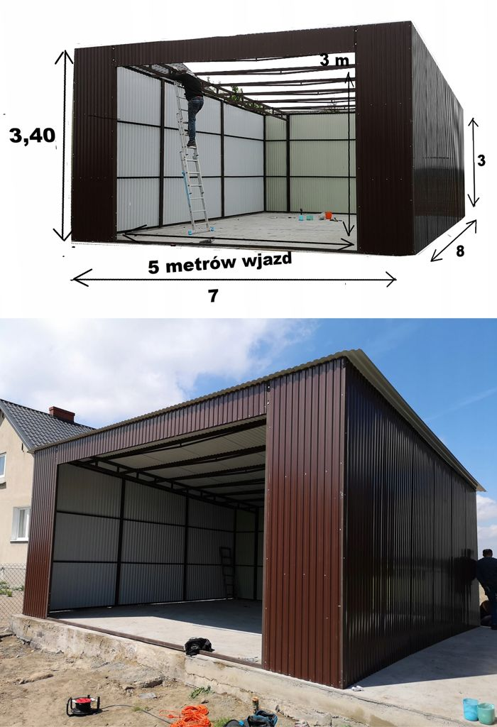 Garaz Wiata Blaszana 7x8 Brama Dwuskrzydlowa 5m With Images Outdoor Decor Garage Doors Garage