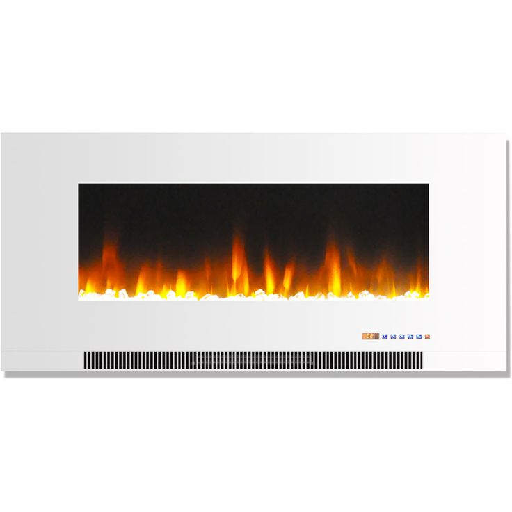 Cambridge CAM42WMEF-1WHT 42 In. Wall-Mount Electric Fireplace in White with Multi-Color Flames and Crystal Rock Display (White)