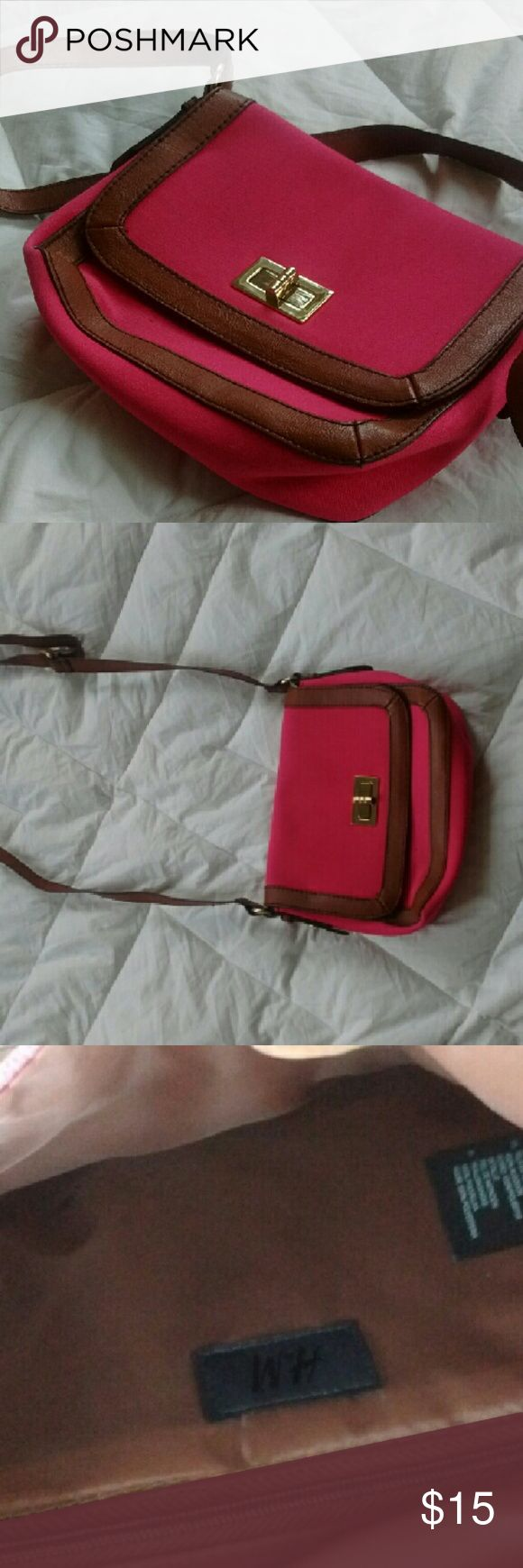 H&M Purse. Pink and brown with gold detailing. Super cute and functional. Offers welcome! H&M Bags Crossbody Bags