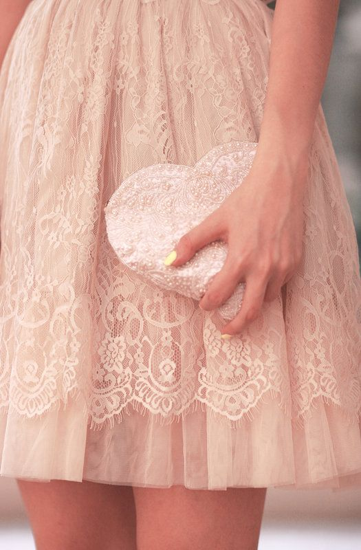 Love the colour, the lace and the heart shaped bag! How appropriate!