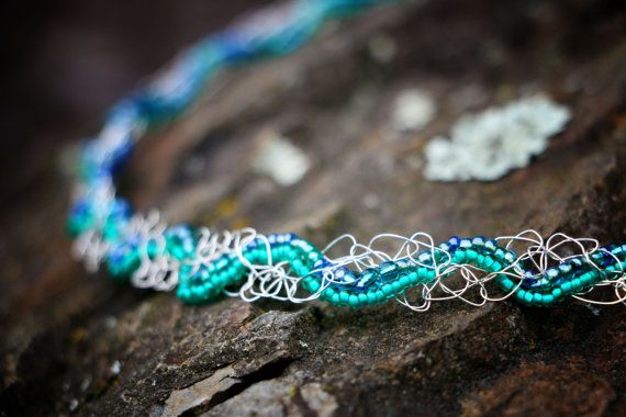 Aqua And Silver Woven Crochet Necklace by nZuriArtDesigns on Etsy