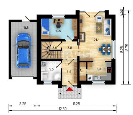 Rodinný dům Astra Plus - půdorys přízemí