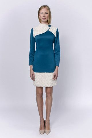 Turquoise Russian stlye dress with faux fur at LACCA fashion - fashionable, upscale elegance for the real divas.