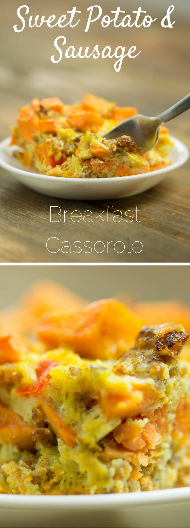 Healthy Breakfast Casserole w/ Sweet Potatoes, Italian Sausage and Peppers