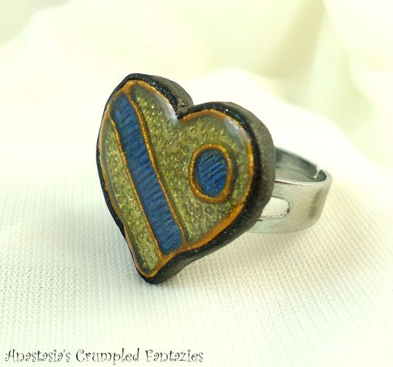 Faux cloisonne heart ring Polymer clay yellow by CrumpledFantazies