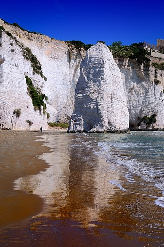 """the Pizzomunno rock, Scialara beach,Vieste, Apulia, Italy.  Note the """"Dallas chalkline,""""  found all over the world, from the great flood."""