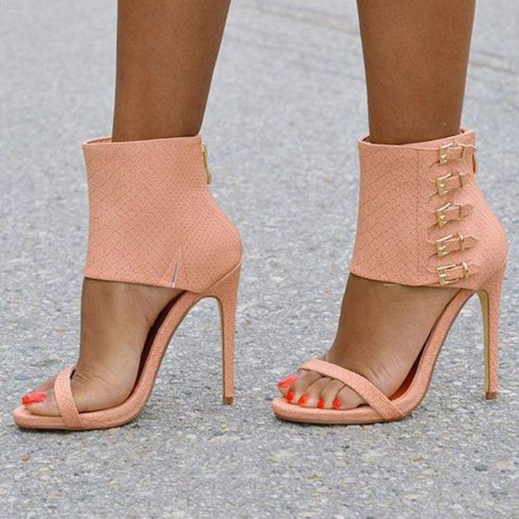 Shoespie Stylish Ankle Wrap Buckles Back Zipped Stiletto Heel Sandals