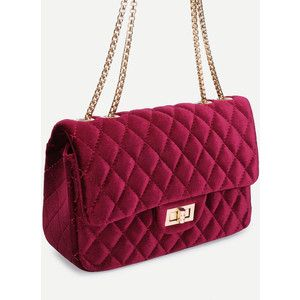 SheIn(sheinside) Quilted Velvet Chain Bag