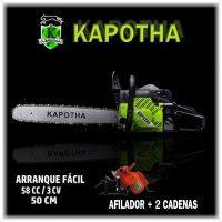 Motosierra Kapotha 58CC - 3 cv + 2 Cadena Extras y Afilador