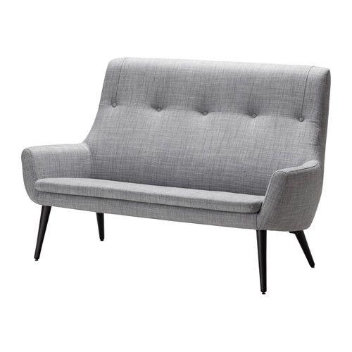 HEMSTANÄS 2er-Sofa, hohe Rückenlehne, Isunda grau, Holz Isunda grau/Holz