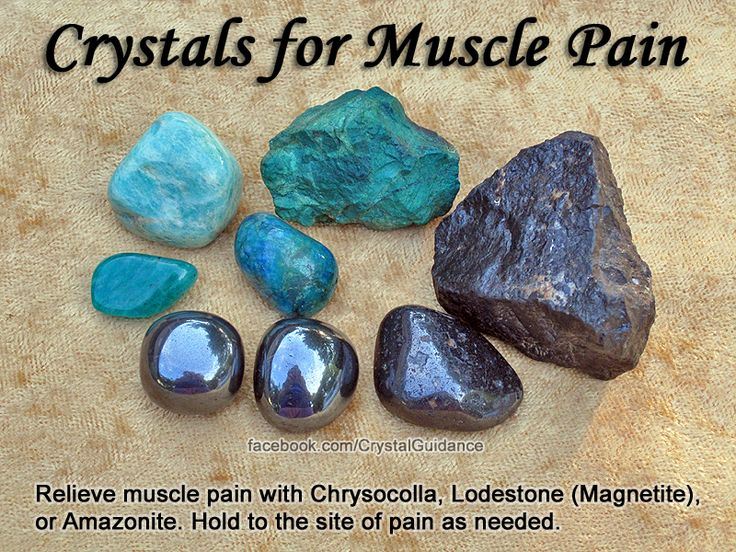 Crystals for Muscle Pain — Relieve muscle pain with Chrysocolla, Lodestone (Magnetite), or Amazonite. Hold to the site of pain as needed.