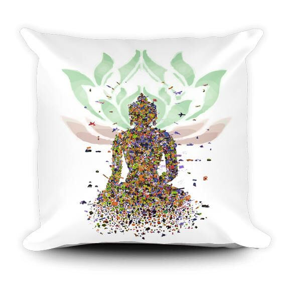 A personal favorite from my Etsy shop https://www.etsy.com/ca/listing/524689573/buddha-pillow-meditation-decor-lotus