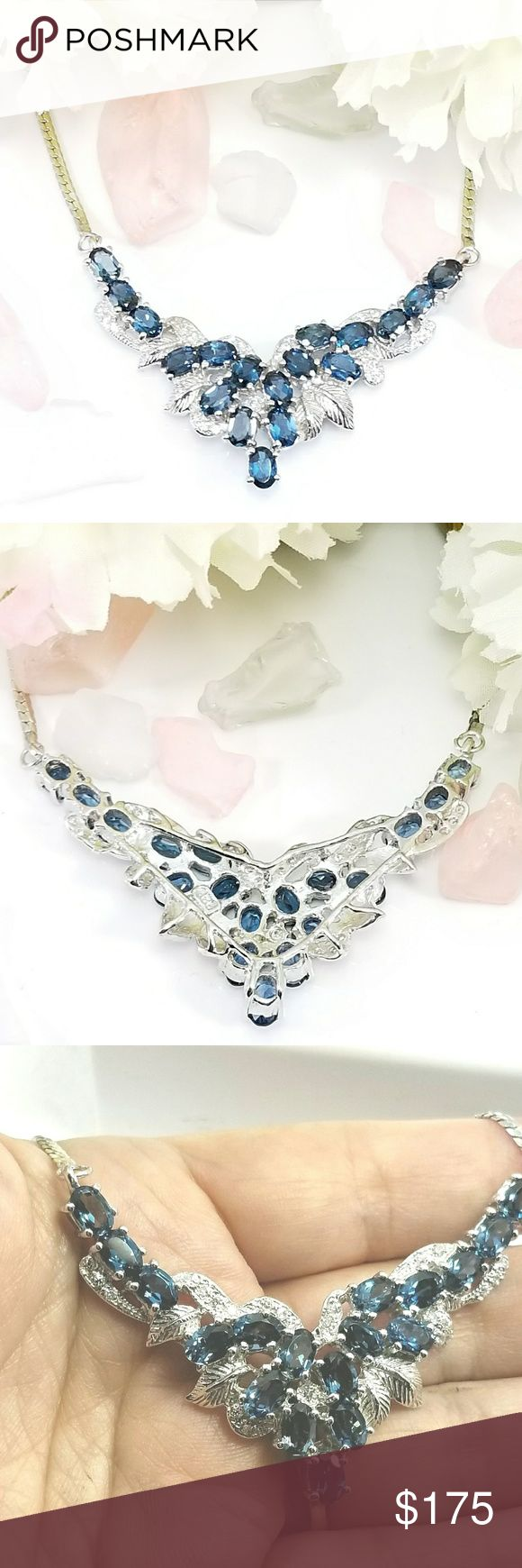 """Sterling Silver London Blue Topaz & CZ Necklace 925 Sterling Silver Genuine Natural Oval London Blue Topaz and Cubic Zirconia 17.75"""" Necklace. New without tags. Beautifully crafted by master Jewelers. Jewelry Necklaces"""