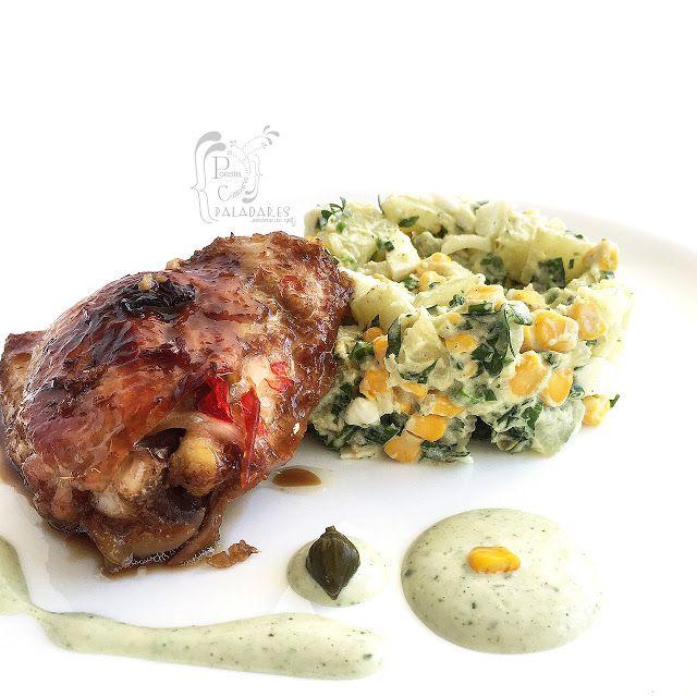 Poesía Culinaria Sabores De Nati Perniles En Salsa De Soya Y Miel Con Ensalada De Patata Y Maíz Ensalada De Patatas Salsa De Soya Comida